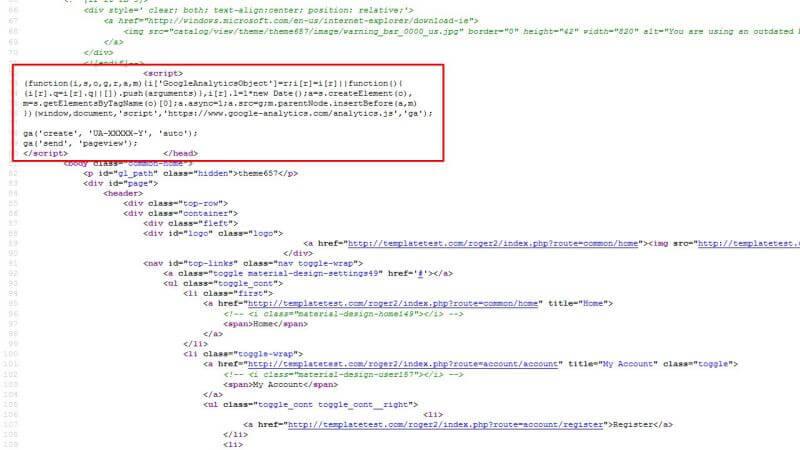 وارد کردن کد پیگیری گوگل آنالیتیکس به سایت
